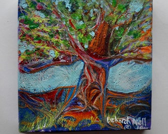 "Miniature Tree, Mini Acrylic Pour, Miniature Painting of Tree, Miniature Art, Small Art, ""Mighty Mini Tree"""