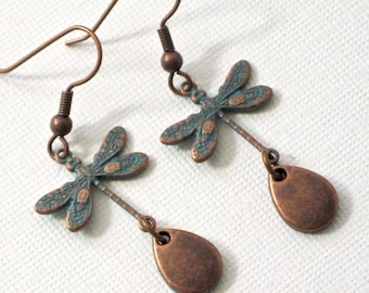 Small Dragonfly Earrings - Teal Copper, Dragonfly Jewelry, Nature Jewelry, Garden Jewelry