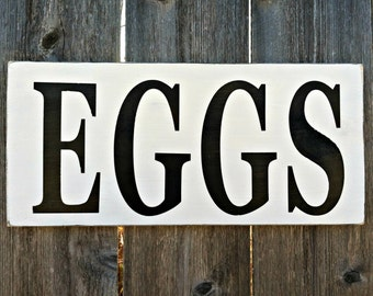 Made to Order Vintage Style EGGS Wooden Sign - Handmade Country Kitchen Dining Room Wall Decor