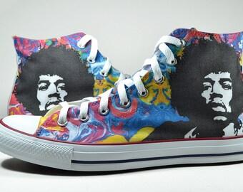 Jimi Hendrix psychedelic custom converse custom shoes psychedelia