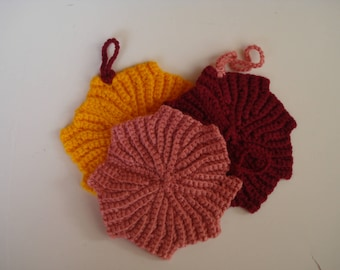 Crochet  Dishcloth (Set of Three), Crochet Maple Leaf Shaped Dishcloth, Acrylic Dish Scrubber, Colorful Dishcloth, Mothers Day Gift