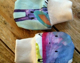 Reversible organic cotton jersey mittens handmade in the UK
