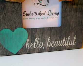 Hello Beautiful Grey Table Top Picture Frame.Baby Gift