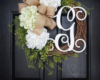 """18""""-32"""" Light Green & White Hydrangea Wreath. Year Round Wreath. Spring Wreath. Summer Wreath. Door Wreath. Grapevine Wreath."""