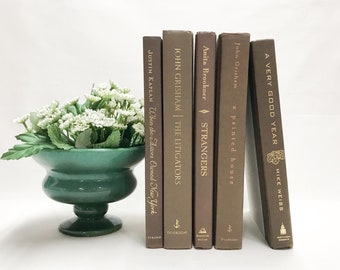Brown Decorative Books, Shelf Decor, Library Decor
