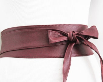 Dark Red Leather Obi Belt | Waist or Hip Belt | Leather tie belt | Real Leather Belt| Handmade Belt