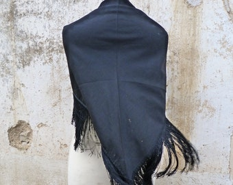 Vintage Antique Victorian 1890/1900 s French  black scarf shawl  with fringes