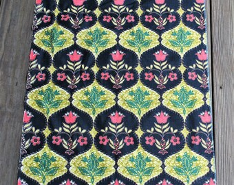 Mid Century Vintage Barkcloth - Green, Red, Gold, Brown, White, Black - Fabric For Pillow Cushion