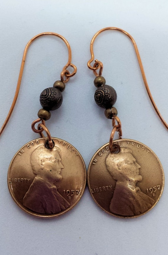 1957 D US Penny Earrings for Birthday Anniversary Mother's Day