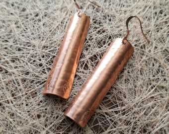 Bent Hand-Made Pure Copper Earrings with Leaf Stamp
