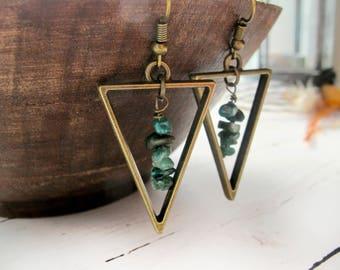 May Birthstone Earrings-Raw Emerald Earrings-Personalized Gifts for Women-Raw Stone Jewelry-Gemstone Earrings-May Birthday Gift-May Earrings