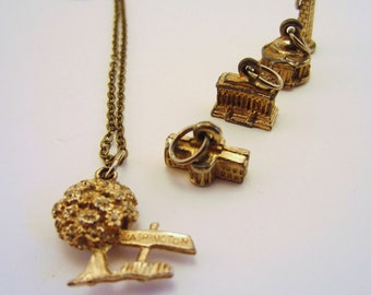 Washington DC necklace with vintage charm. Gold charm necklace. OOAK gift for DC resident or history lover.