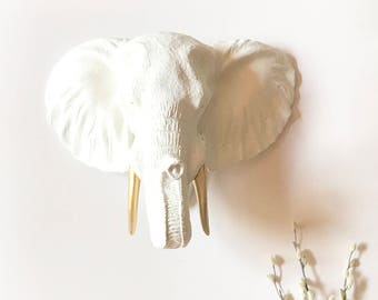 LARGE WHITE with Gold Tusks Faux Taxidermy ELEPHANT Head wall mount faux animal head wall hanging elephant wall art safari wall decor office