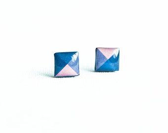 Square stud earrings geometic jewelry square earrings studs