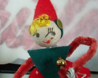 Spun Cotton Doll Head / Pipe Cleaner Elf Figure / Vintage Craft Supplies / Managing the Bells