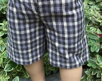 "Plaid shorts knee length for 18"" doll like American Girl"