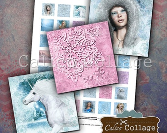 Winter Digital Collage Sheet 1x1 Inch Squares for Decoupage, Jewelry Pendants, Resin, Journaling, Scrapbooking, Paper Crafts, Jewelry images