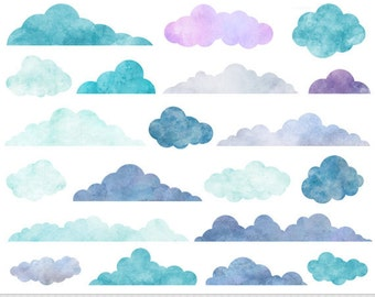 Watercolor Clouds Clipart Digital Clouds Clip Art Baby Shower Clouds Blue Clouds Overlay Scrapbooking Clouds Invitations Weather Clipart