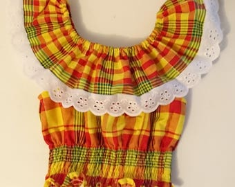 Woman madras and lace bodice