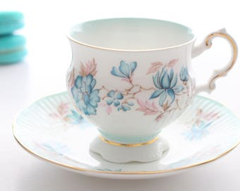 Vintage, English Fine Bone China, Footed Tea Cup and Saucer by Elizabethan, Replacement China, Tea Party, Something Borrowed, Something Blue