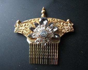 Gold crown headpiece   rhinestone hair comb   steampunk hair   scrollwork   clock