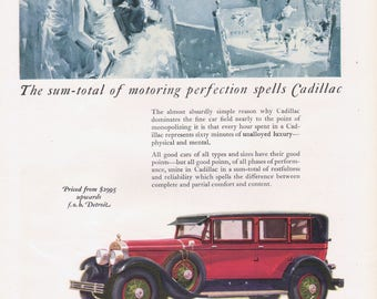 Vintage Car Advertising Cadillac Automobile 1927 Original Magazine ad Wall Decor