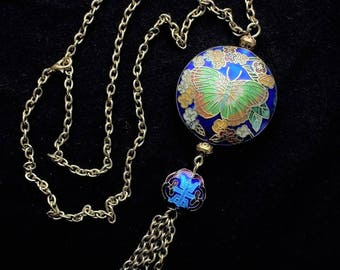 Necklace Chinese cloisonne beads, big Butterfly cloisonné, tassel jewelry, vintage asian chinese longevity symbol