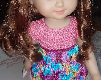 Crochet Top 14 inch Melissa Doug Princess Doll Baby Doll Top Pink Mauve Purple Orange Turquoise Blue