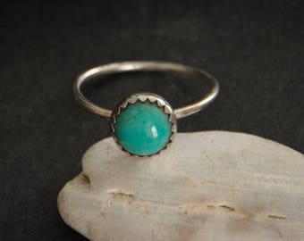 Turquoise Sterling Silver Ring - December Birthstone - Sterling Silver Artisan Jewelry - Minimalist - Stacking Ring - Boho Ring