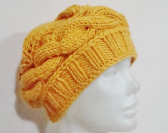 Mustard Yellow Hat Womens gift for woman unique gift hand knitted Knit Winter Hat, Women's hat, for her, Mom, Mothers Day, Mother's Day Gift