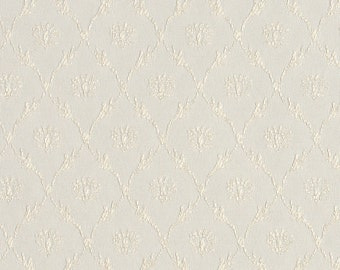 Off White Floral Trellis Jacquard Woven Upholstery Fabric By The Yard   Pattern # B638