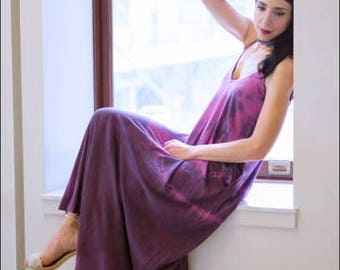 Purple Organic Cotton Maxi dress. Great cruisewear, beachwear or after yoga. Violet with black- tie dye dress, purple organic shibori dress