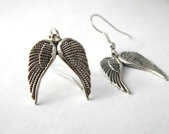 Angel Wing Earrings Silver Color Dangle Earrings
