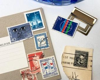 Set of 8 BLUE Vintage Foreign Postage Stamps, Used Stamps, Postage Stamps, Scrapbooking, Craft Stamps, International Stamps