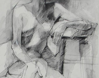 Drawing of Female Model in Black and White - Fine Art Print 8 x 11