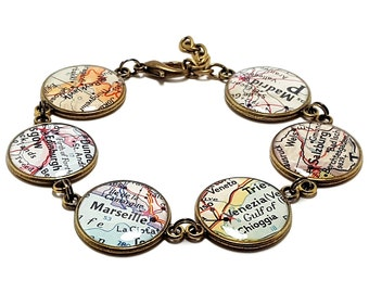 Custom Vintage Map Bracelet. You Select Six Locations Worldwide. Travel Map Jewelry. Personalised Map Jewellery. Personalized Map Bracelet.