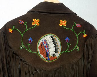 Vintage 1970s Leather Fringe Jacket With Bead Work / L / 44 / Hippie / Rocker / Indian / Native American / Western / 1970s Mens Fashion