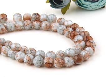 Tibetan Glass Mala Beads, 8mm Marbled Mala Beads, 8mm Glass Beads, Meditation Beads, Latte-Pale Blue, 1 strand (45-50 beads) // BD-068