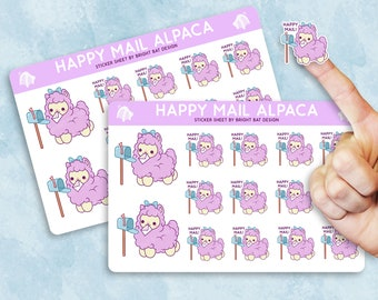 2 Pack - Kawaii Happy Mail Alpaca Planner Sticker Sheets