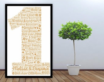 Personalised Word Art Gift Framed 1st Birthday Wedding Anniversary Mum Daughter Son Auntie Sister Friend Brother Uncle
