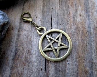 Bronze Pentacle Charm - Midori Charm - Fauxdori Traveler's Notebook Charm