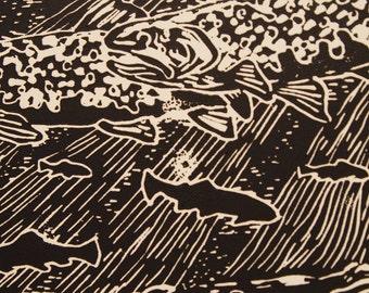 River Bottom --5x7 Oil Linocut--Jonathan Marquardt