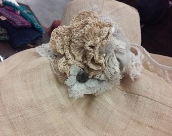 Wide Brim Linen Straw with Crocheted Raffia FLower Corsage Band