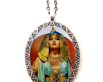 Art Deco Cleopatra Necklace Pendant Silver Tone - Flapper 1920s Jazz Age Roaring 20s Egyptian