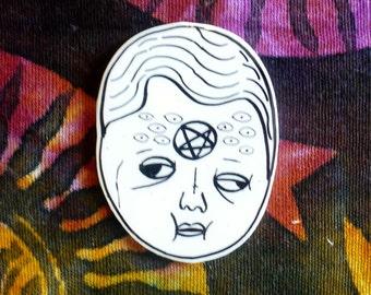 JUMBO Creepy doll head brooch, witchy pin, spell book, satanic, black magick, witchcraft, path, pentacle, devil, illuminati