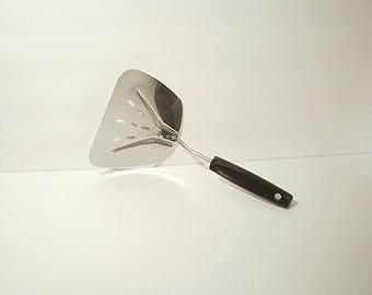 Foley Vintage Stainless Steel Wide Slotted Turner Lifter Curved Spatula USA
