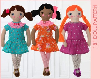 18 inch Girl Doll Pattern, Cloth doll patterns, Toy sewing pattern pdf. rag doll pattern, doll patterns, Sewing pattern for soft toys, MILLY