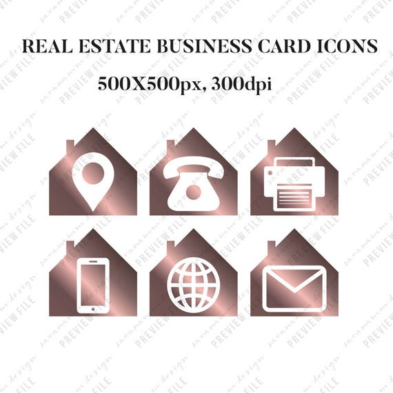 Real estate business card icons real estate marketing social media this is a digital file colourmoves