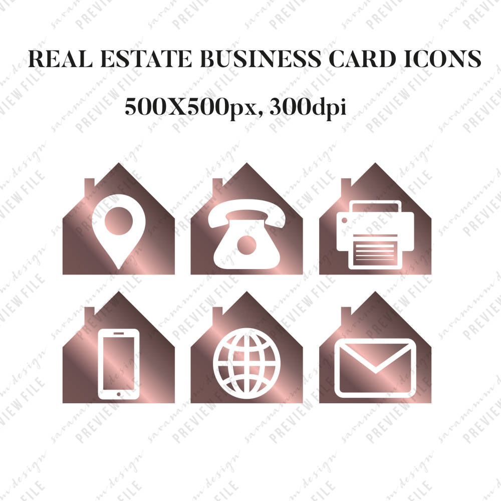real estate business card icons, real estate marketing, social media ...