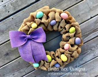Easter Wreath, Easter Egg Wreath, Burlap Wreath, Spring Wreath, Easter Decor